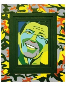Originally, Gawecki's portrait of Ronald Reagan had a camouflage frame