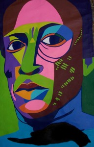 Miles Davis with cat.  39 x 57 inches acrylic on canvas curtain.