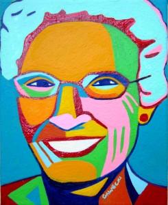 Peggy's portrait went through a multitude of color combinations