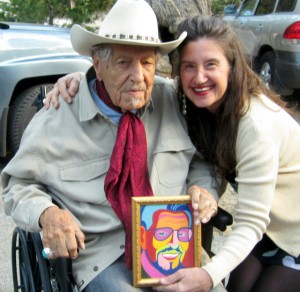 Herb Jeffries, at 100, with artist Marcia Gawecki and portrait, Idyllwild 2013.