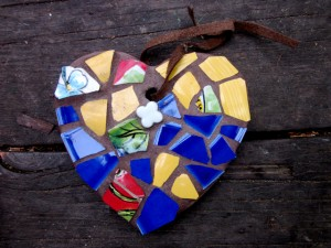 Art like this heart mosiac by Idyllwild artist Nanci Killingsworth will be at the Harvest Festival.